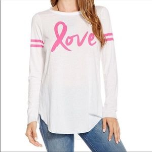 Chaser White & Pink Love Long Sleeve Size Small T